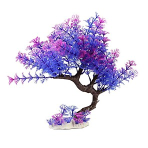 cheap Aquarium Décor & Gravel-Fish Tank Aquarium Decoration Fish Bowl Waterplant Artificial Plants Pink / Purple Plastic 10.5*6 cm