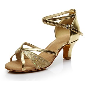 cheap Latin Shoes-Women's Dance Shoes Silk Latin Shoes Heel Customized Heel Customizable Gold / Silver / Indoor