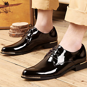 cheap Men's Oxfords-Men's Dress Shoes Derby Shoes Spring / Fall Business / Classic Daily Party & Evening Office & Career Oxfords Patent Leather Non-slipping Wear Proof Red / White / Black / Lace-up / EU42