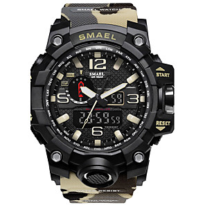 cheap Sport Watches-SMAEL Men's Sport Watch Digital Watch Hunting Watch Silicone Black / Red 50 m Water Resistant / Waterproof Stopwatch Noctilucent Analog - Digital Red / Blue Khaki Camouflage Green Two Years Battery