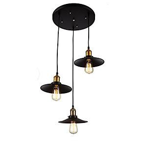 povoljno Dizajn kruga-Srebrna industrijska metalna svjetiljka sa zaslonom s 3 svjetla luster s dnevnim boravkom blagovaonica svjetiljka