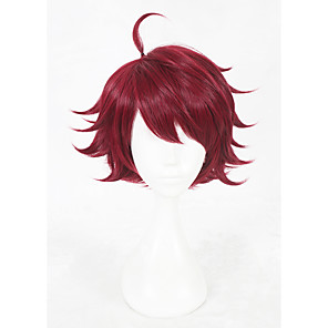 cheap Synthetic Trendy Wigs-Cosplay Costume Wig Synthetic Wig Cosplay Wig Straight Straight Wig Short Red Synthetic Hair Faux Locs Wig Red