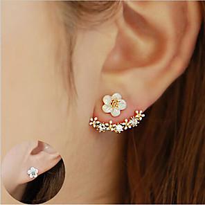 cheap Earrings-Women's Crystal Stud Earrings Jacket Earrings Flower Daisy Elegant Sterling Silver Crystal S925 Sterling Silver Earrings Jewelry Gold / Silver / Rose Gold For Christmas Wedding Party Special Occasion