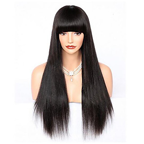 cheap Anime Cosplay Wigs-100% Virgin Human Hair Glueless Lace Front Wig Brazilian Hair Straight Wig Straight bangs With Bangs 130% 150% 180% Density with Baby Hair Natural Hairline 100% Virgin Glueless Women's Short