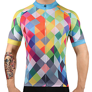 cheap Tattoo Grips-FUALRNY® Men's Short Sleeve Cycling Jersey Argyle Bike Jersey Top Mountain Bike MTB Road Bike Cycling Quick Dry Sports 100% Polyester Clothing Apparel / High Elasticity