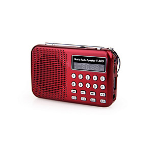 cheap Portable Speakers-Y-869 FM Portable Radio MP3 Player TF Card World Receiver Black / Red / Blue