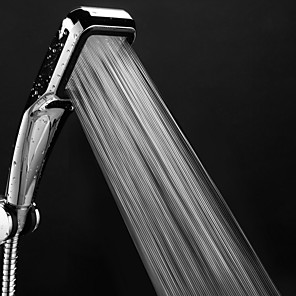 cheap Hand Shower-300 hole Pressurized Water Saving Shower Head ABS With Chrome Plated Bathroom Hand Shower Water Booster Showerhead