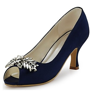 cheap Wedding Shoes-Women's Wedding Shoes Glitter Crystal Sequined Jeweled Stiletto Heel Peep Toe Crystal Elastic Fabric Basic Pump Spring / Summer Navy Blue / Blue / White / Party & Evening