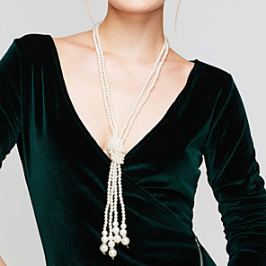 cheap Pearl Necklaces-Women's Pearl Beaded Necklace Y Necklace Layered Lariat Ladies Elegant Multi Layer Pearl Imitation Pearl White Necklace Jewelry For Wedding Party Daily Casual / Long Necklace / Pearl Necklace