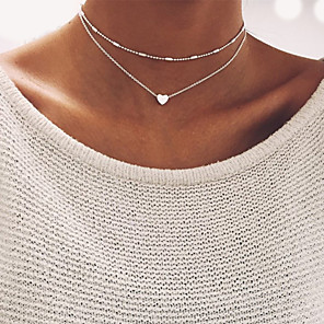 cheap Necklaces-Women's Choker Necklace Beads Double Heart Ladies Basic Alloy Gold Silver Necklace Jewelry For Wedding Party Birthday Gift Daily Casual