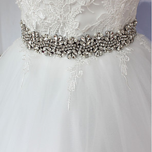 cheap Party Sashes-Satin / Tulle Wedding / Special Occasion / Anniversary Sash With Rhinestone / Imitation Pearl / Appliques Sashes