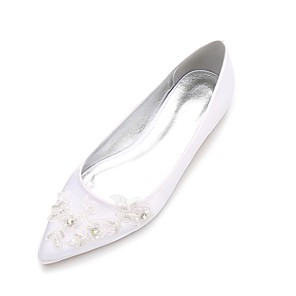 cheap Wedding Shoes-Women's Wedding Shoes Glitter Crystal Sequined Jeweled Flat Heel Pointed Toe Beading / Flower Satin Comfort / Ballerina Spring / Summer White / Ivory / Party & Evening / EU41