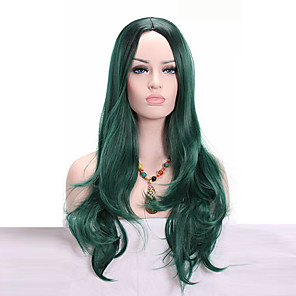 cheap Synthetic Trendy Wigs-Synthetic Wig Wavy Wavy Wig Medium Length Green Synthetic Hair African American Wig Green