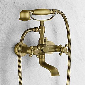 cheap Bathtub Faucets-Bathtub Faucet - Antique Antique Brass Tub And Shower Ceramic Valve Bath Shower Mixer Taps / Two Handles Two Holes