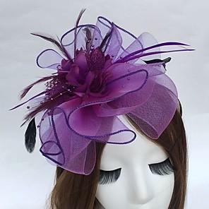 cheap Fascinators-Feather / Net Headbands / Fascinators with 1 Wedding / Party / Evening / Tea Party Headpiece
