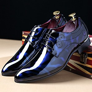 cheap Latin Shoes-Men's Dress Shoes Derby Shoes Fall / Winter Business / Classic / British Daily Party & Evening Office & Career Oxfords Patent Leather Breathable Wear Proof Burgundy / Royal Blue / Black / EU40