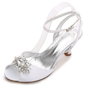 cheap Wedding Shoes-Women's Wedding Shoes Glitter Crystal Sequined Jeweled Kitten Heel / Cone Heel / Low Heel Round Toe / Peep Toe Rhinestone / Crystal / Sparkling Glitter Satin Comfort / Basic Pump Spring / Summer