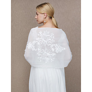 cheap Wedding Wraps-Shawls Chiffon Wedding / Party / Evening Women's Wrap With Appliques
