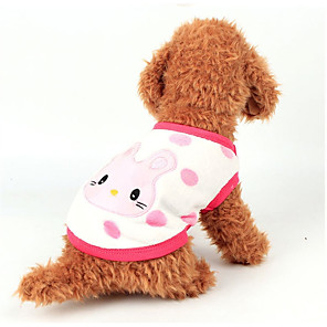 cheap Movie & TV Theme Costumes-Dog Vest Winter Dog Clothes White Yellow Pink Costume Flannel Fabric Cartoon Casual / Daily XXS XS S