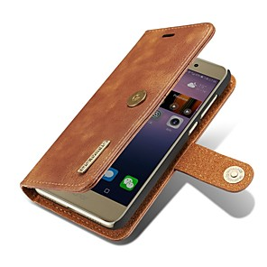 cheap Outdoor IP Network Cameras-Case For Huawei P9 / Huawei P10 Plus / P10 / Huawei P9 Wallet / Card Holder / Flip Full Body Cases Solid Colored Hard Genuine Leather