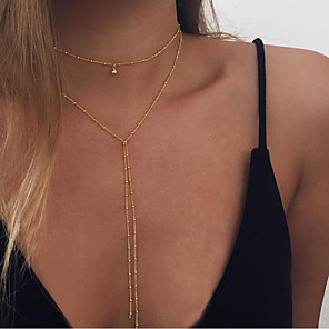 cheap Necklaces-Women's Layered Necklace Long Ladies Fashion Alloy Gold Silver Necklace Jewelry For Daily Casual