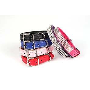 cheap Dog Collars, Harnesses & Leashes-Dog Collar Strobe / Flashing Flower / Floral PU Leather Purple Red