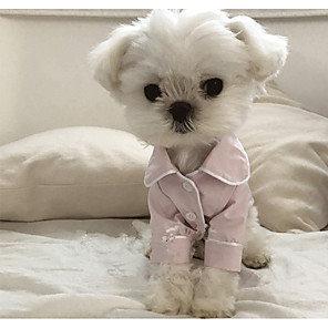 cheap Dog Clothes-Dog Pajamas British Casual / Daily Winter Dog Clothes White Black Pink Costume Silk S M L XL XXL