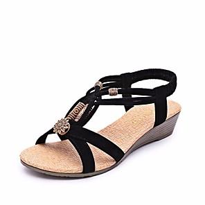 cheap Cycling Jerseys-Women's Sandals Wedge Sandals Flat Sandal Summer Flat Heel Open Toe Comfort Roman Shoes Beach Rhinestone Solid Colored Fleece Walking Shoes Black / Beige / EU37