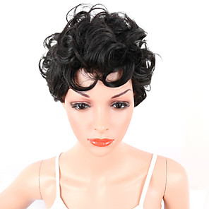cheap Synthetic Trendy Wigs-Synthetic Wig Curly Afro Curly Afro With Bangs Wig Short Natural Black Synthetic Hair Women's Middle Part African American Wig For Black Women Black