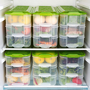 cheap LED String Lights-3 layer crisper kitchen storage box refrigerator frozen food storage box household storage container lid egg box