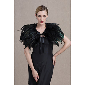 cheap Wedding Wraps-Capelets Feather / Fur Wedding / Party / Evening Women's Wrap With Smooth / Fur