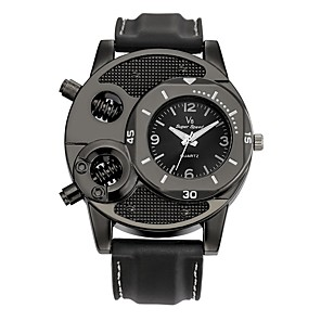 cheap Sport Watches-Men's Sport Watch Quartz Leather Genuine Leather Black Water Resistant / Waterproof Creative Analog Charm Casual Fashion Elegant - Black / Stainless Steel