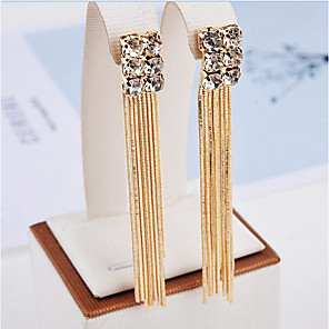 cheap Earrings-Women's Drop Earrings Ladies Tassel Fashion Rhinestone Earrings Jewelry Gold For Party Daily