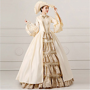 cheap Historical & Vintage Costumes-Princess Rococo Dress Party Costume Masquerade Ball Gown Women's Lace Lace Satin Costume Beige Vintage Cosplay Party Prom Long Sleeve Floor Length Ball Gown Plus Size Customized