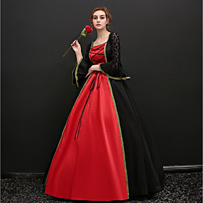 cheap Historical & Vintage Costumes-Dress Cosplay Costume Masquerade Ball Gown Adults' Women's Victorian Medieval Renaissance Party Prom Halloween Carnival New Year Festival / Holiday Satin Red+Black Carnival Costumes Plus Size