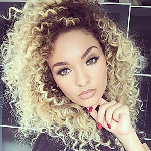 cheap Human Hair Wigs-Human Hair Lace Front Wig Layered Haircut Free Part Beyonce style Brazilian Hair Curly Two Tone Wig 130% Density with Baby Hair Ombre Hair Natural Hairline For Black Women 100% Virgin Women's Short