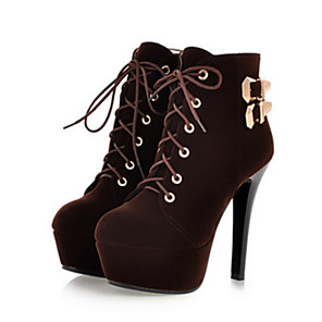 cheap Clutches & Evening Bags-Women's Boots Stiletto Heel Round Toe Lace-up Nubuck leather Booties / Ankle Boots Comfort / Novelty / Fashion Boots Spring / Summer Black / Brown / Red / Party & Evening