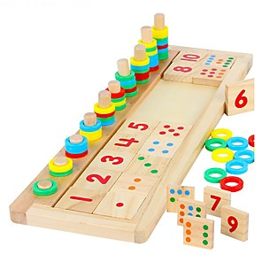 cheap Building Blocks-Montessori Teaching Tool Educational Toy Wooden Blocks Math Toy Wood Blocks Number Toys Building Bricks for interest development Develop Creativity Number DIY Building Toys Boys' Toy Gift / Kid's