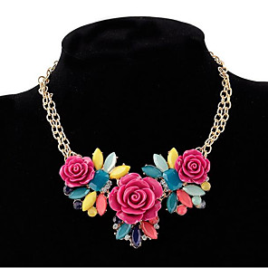 cheap Jewelry Sets-Women's Statement Necklace Flower Floral / Botanicals Leaf Flower Ladies Bohemian Boho Chunky Resin Plastic Alloy Purple Yellow Necklace Jewelry For Party Holiday