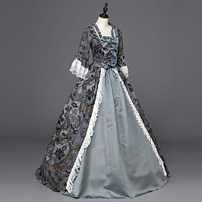 cheap Historical & Vintage Costumes-Maria Antonietta Rococo Lace Up Victorian Lolita 18th Century Dress Party Costume Women's Lace Satin Costume Blushing Pink / Gray Vintage Cosplay Party Prom Long Sleeve Floor Length Ball Gown Plus