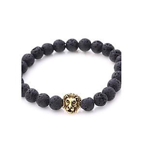 cheap Lolita Dresses-Men's Women's Onyx Bead Bracelet Bracelet Lion Natural Punk Stone Bracelet Jewelry Gold / Silver For Party Gift
