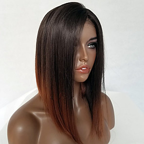 cheap Human Hair Wigs-Remy Human Hair Lace Front Wig Bob style Brazilian Hair Straight Wig 130% Density Women's Short Human Hair Lace Wig Luckysnow