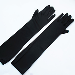 cheap Party Gloves-Stretch Satin / Spandex Fabric Opera Length Glove Bridal Gloves / Party / Evening Gloves With Pearl