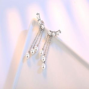cheap Necklaces-Women's Pearl Stud Earrings Drop Earrings Long Ladies Tassel Simple Style Sterling Silver Earrings Jewelry Silver For Wedding Party Daily Masquerade Engagement Party Prom
