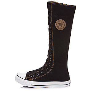 cheap Women's Boots-Women's Boots Knee High Boots Flat Heel Round Toe / Closed Toe Zipper / Lace-up Canvas Knee High Boots Fashion Boots Spring / Summer Red / White / Black