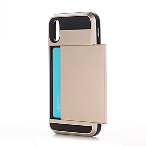 cheap iPhone Cases-Case For Apple / iPhone X iPhone X / iPhone 8 Plus / iPhone 8 Card Holder / Shockproof Back Cover Solid Colored Hard PC