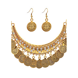 cheap Jewelry Sets-Women's Necklace Ladies Punk Fashion Silver Plated Gold Plated Earrings Jewelry Gold / Silver For Daily Evening Party