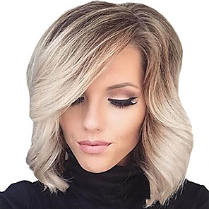 cheap Synthetic Trendy Wigs-Synthetic Wig Curly Wavy Natural Wave Curly With Bangs Wig Blonde Short Blonde Synthetic Hair Women's Ombre Hair Highlighted / Balayage Hair Side Part Blonde