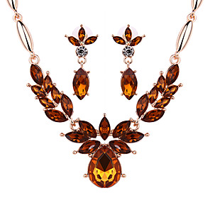 cheap Jewelry Sets-Women's Sapphire Crystal Citrine Jewelry Set Drop Earrings Statement Necklace Marquise Cut Ladies Earrings Jewelry Green / Blue / Champagne For Party