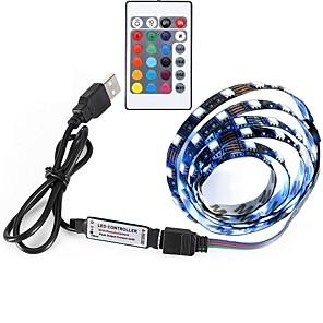 cheap Neon LED Lights-0.5m LED Light Strips RGB Tiktok Lights 30 LEDs 5050 SMD 1 set Remote Control RC Cuttable Self-adhesive 5 V Color-Changing